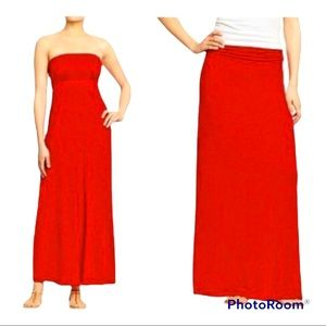 NWT Old Navy Strapless Red Convertible Maxi Dress Size M